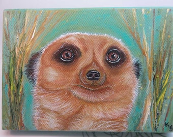 Meerkat Painting - original meerkat art - original painting - acrylic painting - original canvas art - wildlife art - 5x7 inches - SFA