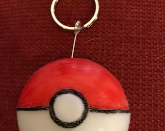 Pokemon Pokeball Resin Keychain - Red and White, Pocket Monsters, Pikachu