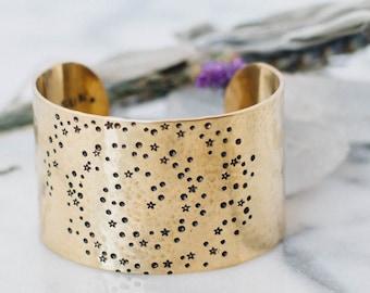 Sun Moon & Stars bracelet. Galaxy bracelet. Inspirational gift. Gift for her. Hand stamped secret message bracelet. Brass cuff RTS CB027