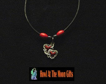 Pewter Two Hearts As One Pendant Necklace