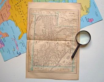 Vintage Map of Utah   Antique 1910 Utah Old Map