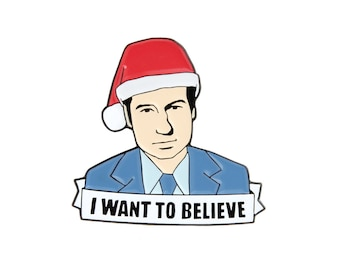 X-Files I want to believe Christmas enamel lapel pin
