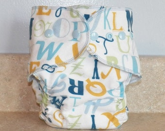 Fitted Large Cloth Diaper- 20 to 30 pounds- Blue Alphabet- 19018