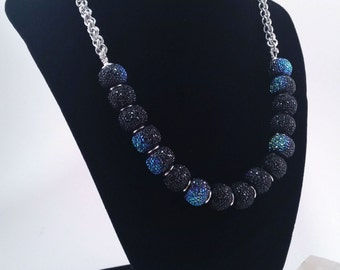 Long Galaxy Dust Black and Blue JPL Chainmaille Necklace