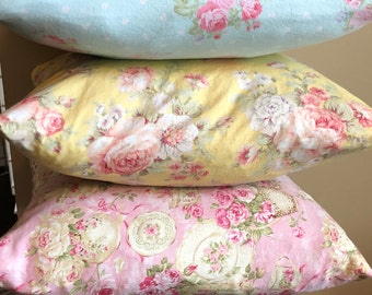 Pillow Covers/ Shabby Chic Pillow Cover/ Light Blue, Yellow, Pink Teacup Pillow Cover/ 3 Pillow Covers/ Handmade Pillow Cover