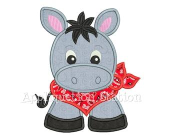 Bandana Baby Donkey Applique Machine Embroidery Design Farm Animal Cute Boy INSTANT DOWNLOAD