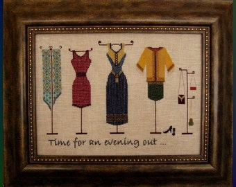 """Cross Stitch Instant Download Pattern """"An Evening Out"""" Counted Embroidery Chart. Evening Dresses  Accessories Clothing X Stitch."""