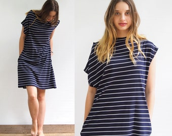 Tricot Dress With Pockets and Stripes in navy color 100% cotton Jersey , sailor stripes