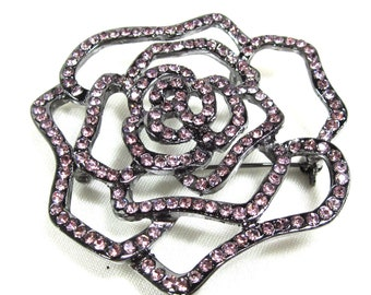 Vintage Rhinestone Rose Brooch Pendant, Rose Colored Rhinestones