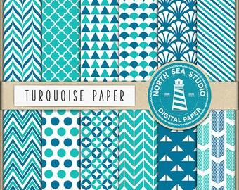 Turquoise Digital Paper Pack | Scrapbook Paper | Printable Backgrounds | 12 JPG, 300dpi Files | BUY5FOR8