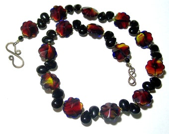 Red, Black, and Yellow Round Fluted Beads with Black Teardrops and Black Onyx Necklace and Earrings Set by Carol Wilson of Je t'adorn