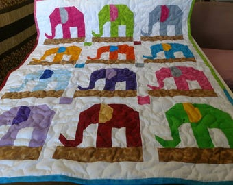 Handmade Elephant Pieced Multi Color Scrappy  Baby Crib Lap Throw Quilt Blanket Made in the Arkansas Ozarks