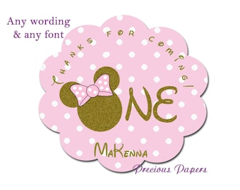 Personalized First Birthday Minnie Mouse gold glitter Birthday Stickers Minnie Mouse Scalloped stickers
