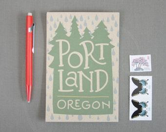 Portland Oregon Rain Set of 6 Postcards / Illustrated Postcards / Hand Lettered / Travel Souvenirs / Portland Oregon Postcard Set / PDX