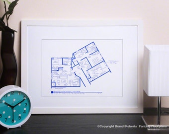 Seinfeld and Kramer Poster Art - Famous TV Show Floor Plan - BluePrint for Apartment of Jerry Seinfeld and Cosmo Kramer  **As On Today Show