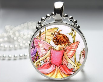 Fantasty Little Fairies Fairy Round Pendant Necklace with Silver Ball or Snake Chain Necklace or Key Ring