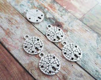 Sand Dollar Charms Sand Dollar Pendants Antiqued Silver Charms Ocean Charms Nautical Charms 10 pieces 19mm