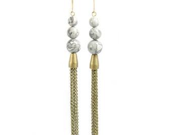 PLANETS | Triple Stacked Grey Jasper with Antiqued Brass Chain Fringe Tassels Earrings