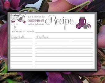 "Bridal Shower Recipe Card - Mason Jar Recipe Card Printable - Purple Plum Merlot Gray - Wedding Bridal Shower Gift - 4"" x 6"" Card"