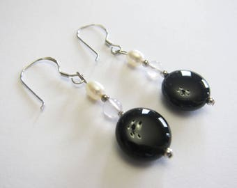 925 Sterling Silver Black Onyx, Quartz and Pearl  Earrings