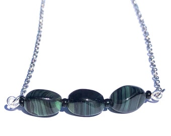 Black and green beaded bar necklace