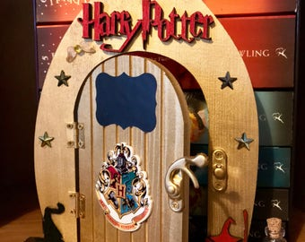 Harry Potter Inspired Fairy Door Large Wooden Opening PERSONALISE Gift Hogwarts Wizard Witch Magic