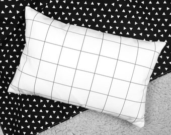 crib bedding |Modern Accent Pillow - Black + White Grid Design | modern nursery | modern baby room ideas | decorative pillow | modern