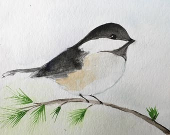 Blackcapped Chickadee, 4x4 print, watercolor, watercolor prints, watercolor bird, chickadee, bird art