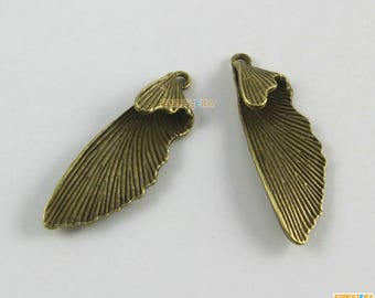 20Pcs Antique Brass Wing Charm Wing Pendant Dragonfly Wing Charm 35x12mm (PND1548)