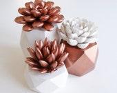 Sale! Copper Succulent Indoor Copper Planter Geometric Set Succulent Gift Modern Home or Office Decor