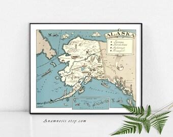 ALASKA carte imprimer Téléchargement instantané--carte imprimable photo vintage pour le cadrage, totes, oreillers, cartes etc. - décoration vintage art imprimé