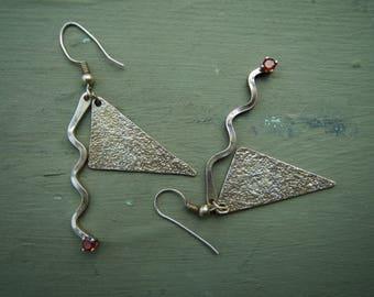 Vintage Sterling Silver 925 Mid Century design drop earrings.