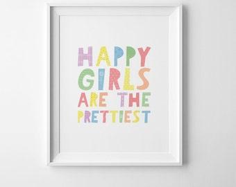 Happy girls are the prettiest, baby girl nursery decor, printable decor, best selling items, printable quote, digital print girl nursery art