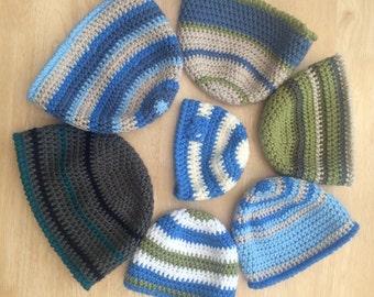 Boys beanie, crochet beanie -  Unique Designs for each age, baby hat, vegan baby hat, vegan friendly hat, newborn hat,