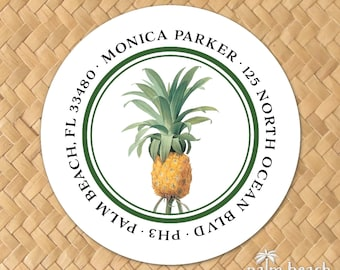 """Vintage Pineapple Return Address Labels - 1.5 Inch, 2"""", 2.5"""" or 3"""" Round Stickers - Personalized Circle Envelope Seals - Housewarming Gift"""