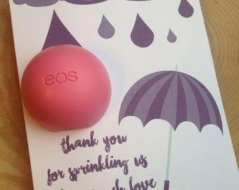 Thank you for sprinkling us with so much love EOS lip balm favor,purple,instant download, thank you,baby sprinkle,baby shower, umbrella,rain