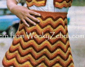 Girls Vintage retro crochet skirt and bolero vest top vest Crochet Pattern PDFB091 from WonkyZebraBaby