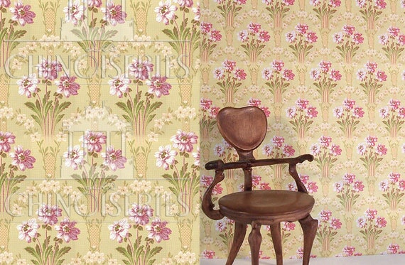 Dollhouse Miniature Wallpaper, Aubrey, Scale One Inch
