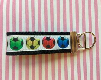 Sports Fun Wristlet Key Chains Ribbon Cotton Webbing 1.25 Inch Key Fob
