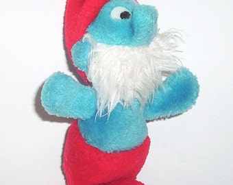 Vintage Baby Papa Smurf Plush Doll