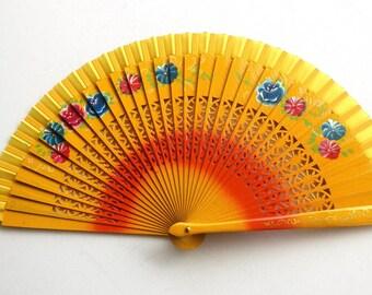 Hand Fans, hand fan, abanico,  yellow-flowered