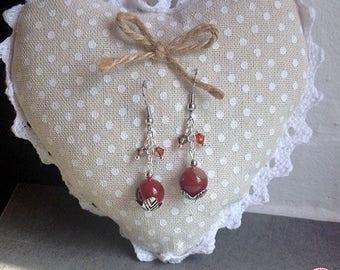 Earrings carnelian and Swarovski crystals