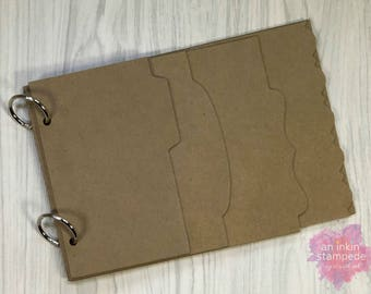 Chipboard Album, Layered Page, Kraft, Decorative Edge Album, Scrapbooking