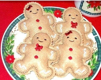 Christmas Felt play food - pretend food - play kitchen food - Boy And Girl Gingerbread  Cookies Set Of  2 dolls one boy and one girl #PF2556