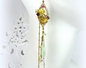 Lavender & Mint Chalcedony Rhinestone Flower Chandelier drop earrings