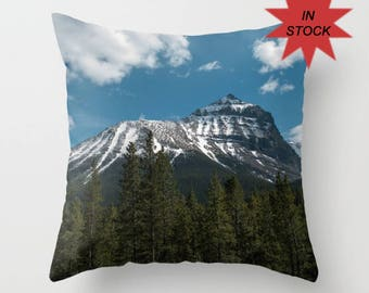 16x16 Sofa Throw Pillow Cover, Rustic Decor Accent Cushion Case, Canadian Rocky Mountain Snow Capped Peaks, Lake House Art Design