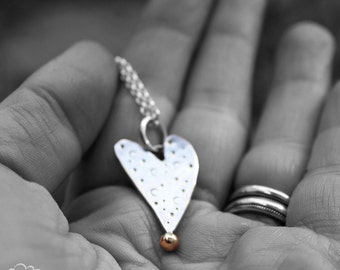 Rustic Heart necklace in sterling silver and 9ct gold - Harlequin - MADE TO ORDER