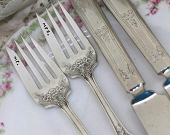 Mr. & Mrs. Forks WEDDING 4 Piece Set Hand Stamped Forks and Knives Cake Table Setting Wedding Decor - Trumpet Vine 1912