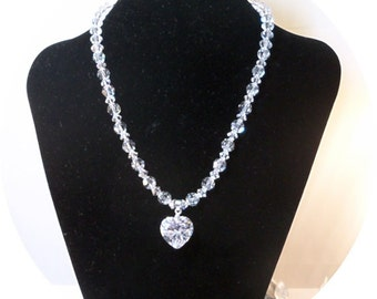 Heart Pendant, Valentine's Day Gift, Crystal Bridal Jewelry Set, Necklace and Earrings, Crystal Jewelry, Heart Jewelry, Gift for Her Jewelry