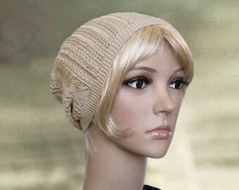 Slouchy beanie hat, Slouch hat beanie, Spring summer beanie, Thin light beanie, Womens slouchy cap, Women's slouch hat, Beige hat beanie